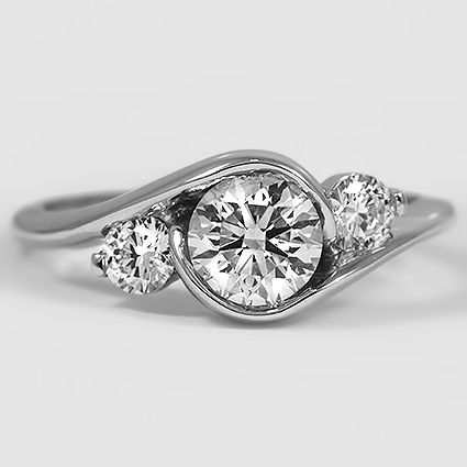 18K White Gold Cascade Three Stone Ring // Set with a 0.91 Carat, Round, Very Good Cut, G Color, SI1 Clarity Diamond #BrilliantEarth
