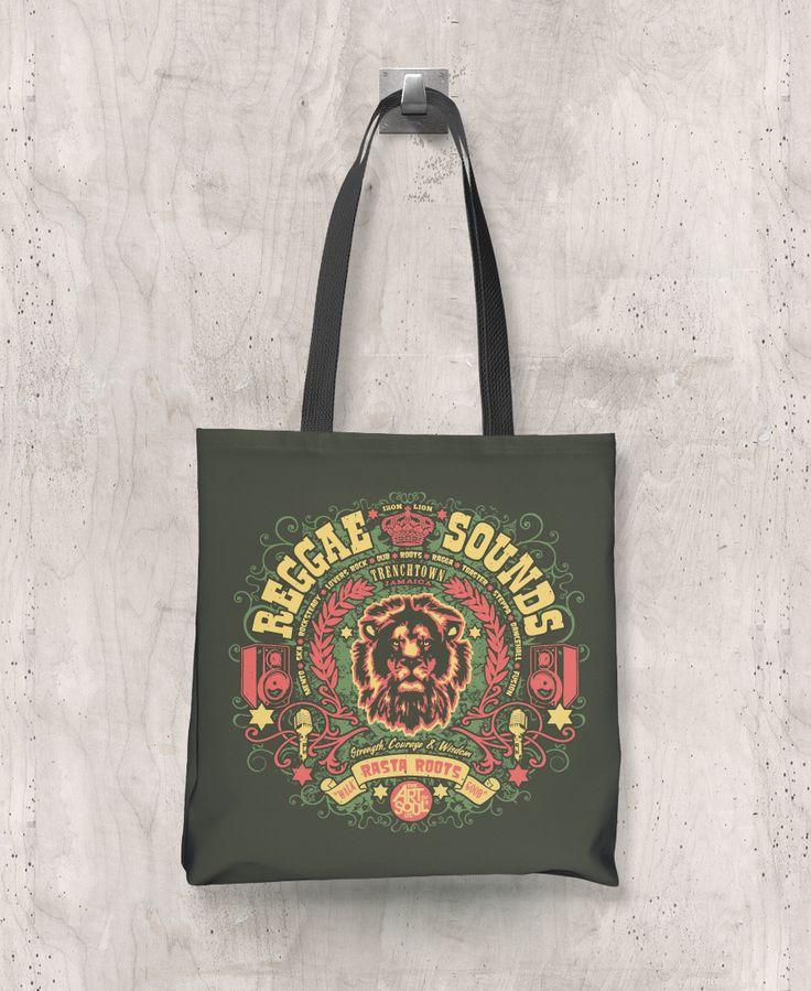 Reggae Sounds - All-Over Printed Poly Tote Bag (Olive) – The Color Pop Shop #reggaemusic #reggae #totebag #music