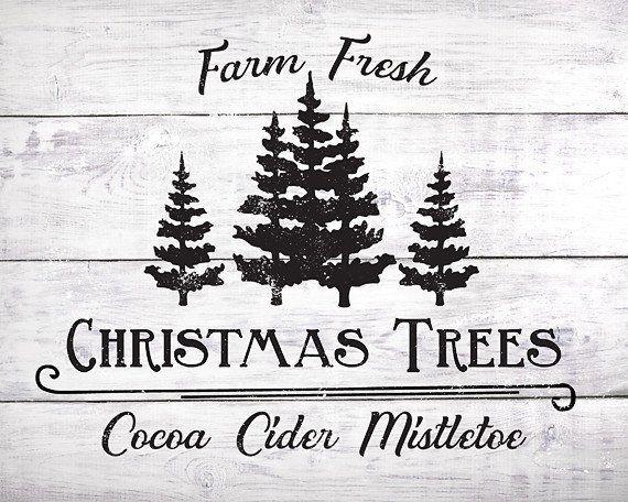 Farm Fresh Christmas Trees Lettered Print Christmas Farm Fresh Christmas Trees Christmas Tree Farm