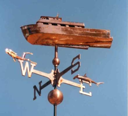 Dive Boat Weather Vanes by West Coast Weather Vanes.  This handcrafted Dive Boat weathervane was custom made using copper with optional gold leafing.