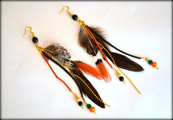 Feather Earrings Red Feather Earrings Statement by MarianaHandmade, $24.00