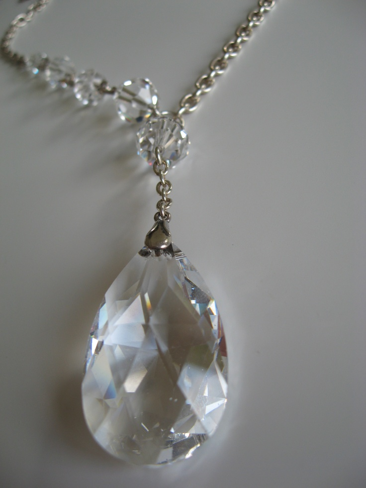 Sterling silver necklace with clear Swarovski Elements