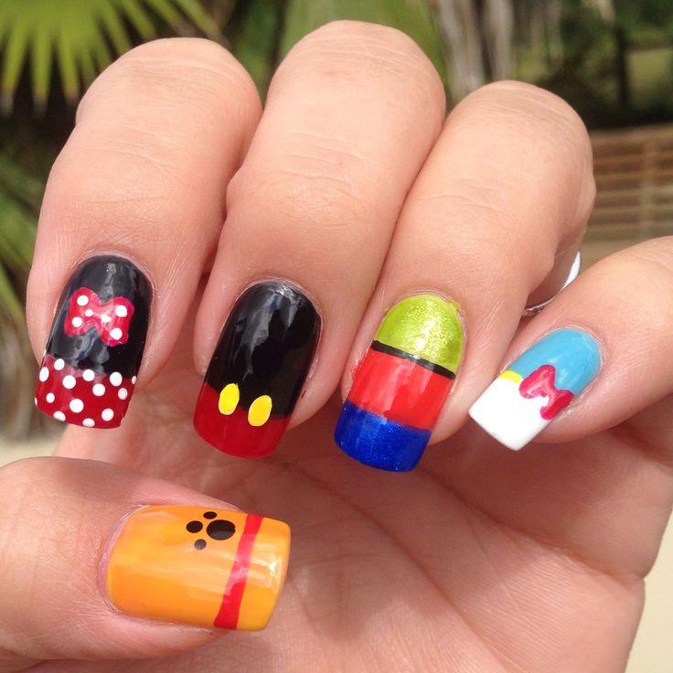 I want the Minnie Mouse design sooo bad. - Best 25+ Disney Nail Designs Ideas On Pinterest Disney Nails