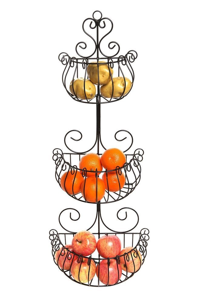 Wall Mounted Scroll 3 Tier Black Iron Fruit Basket Kitchen Storage Rack New #MyGift