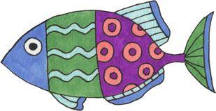 Pesce di fantasia dell'acquerello Immagini Stock