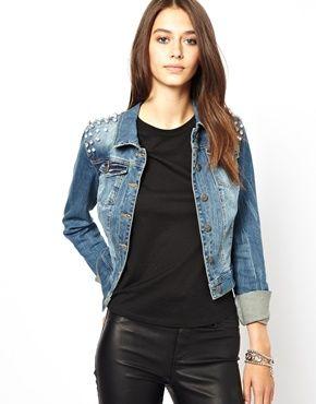 Immagine 1 di Only - Giacca di jeans con borchie sulle spalle