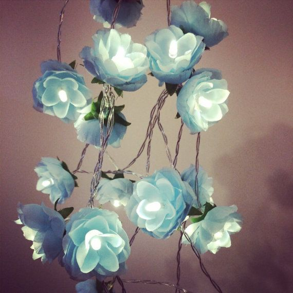 Wild Roses LED Fairy Lights in Baby Blue / Pale by FairybyFoxie
