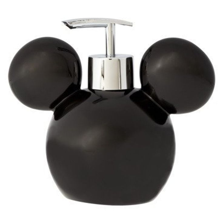 Fans of Disney will love this minimalistic Mickey Mouse soap pump. The bathroom accessory features a black representation of Mickey's head. It can be filled with soap or lotion. The plastic exterior c