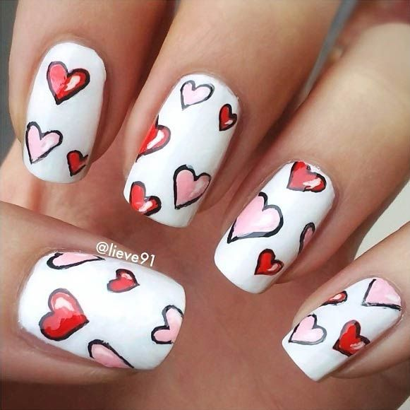 White Heart Nail Art Design for Valentine's Day