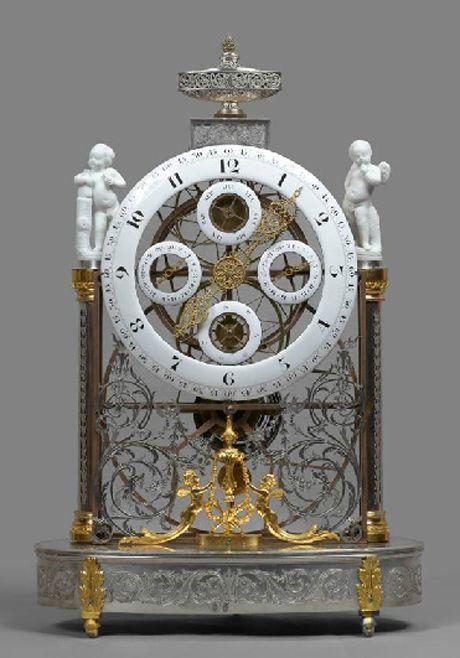 Louis XVI platinum, silver and gilt brass and gilt bronze great wheel multi-dial skeleton clock