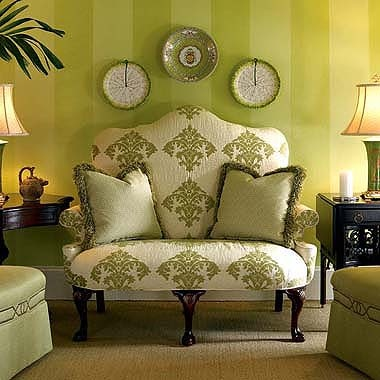 Love: Stripes Wall, Chairs, Color, Interiors Design, Charlotte Sett, Century Furniture, Seats, Green Stripes, Living Rooms Furniture