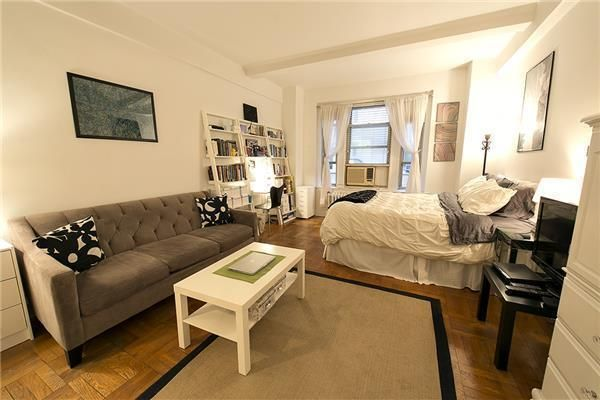 studio apartment in Greenwich Village, 24 Fifth Avenue, Ikea lack coffee table, nyc apartment, studio apt, small space living.