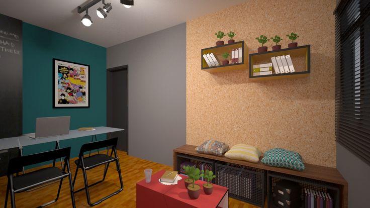 A área de estar contempla um mural de referências acima do sofá, área de café, sofá, mesa de apoio central e banco, que foi projetado para servir também como movél para armazenamento de materias do escritório.