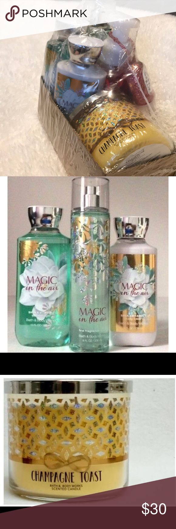 7 pc Limited Edition Bath & Body Gift Set New unused Holiday Limited Edition Bath & Body Gift Set- includes Magic In the Air shower gel, body lotion, & mist/ Champagne Toast 3-wick candle/ Thousand Wishes hand soap & hand sanitizer w/gold and pink glitter keychain holder Makeup
