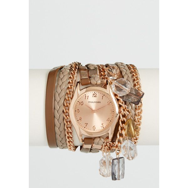 maurices Chain And Faux Leather Wrap Watch In Brown And Rose-Goldtone,... (635 UAH) ❤ liked on Polyvore featuring jewelry, watches, wrap watch, chain watches, brown wrist watch, brown watches and faux leather watches