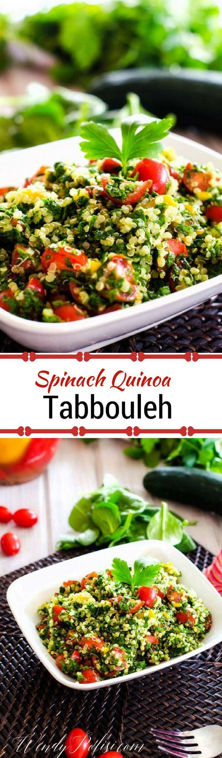 Spinach Quinoa Tabbouleh via /wendypolisi/