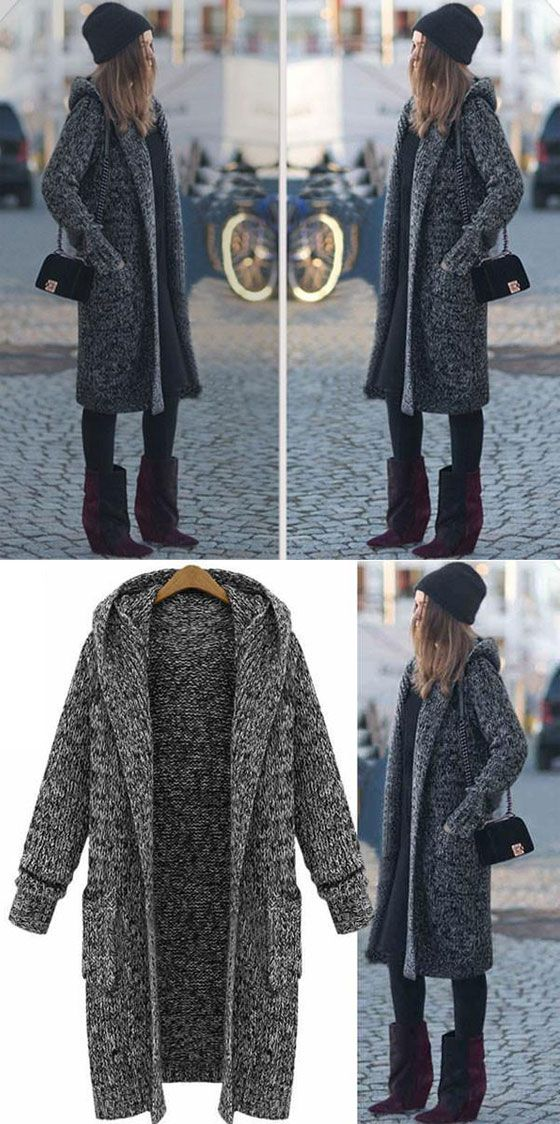 c8718358f New Hooded Lapel Long Sweater Coat in 2019