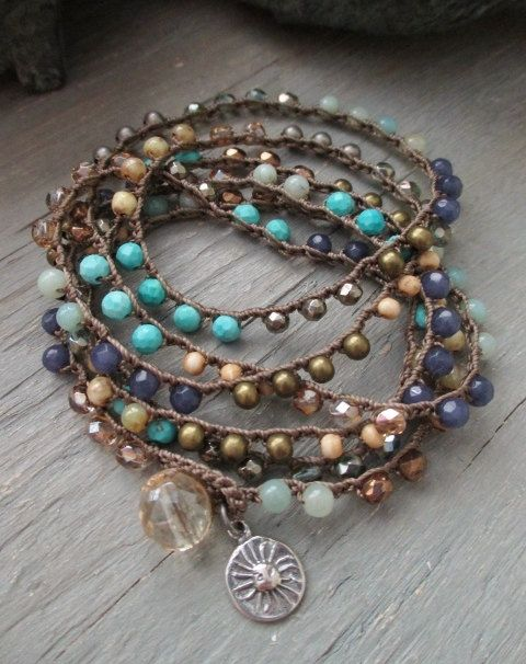 Beachy long crochet 6x wrap bracelet necklace by slashKnots