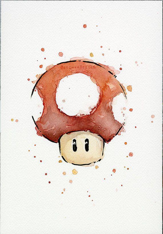 Red Mushroom ORIGINAL Watercolor Painting, Green Mushroom Geek Nintendo Art…