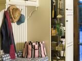 Hidden Organization -   No more hunting around for items in the back of a dense shelf. A pretty space for hats, scarves and bags is made even more functional by the cabinet that slides out to reveal an organization system complete with hooks and wire shelving for easy access to cleaning supplies and household tools
