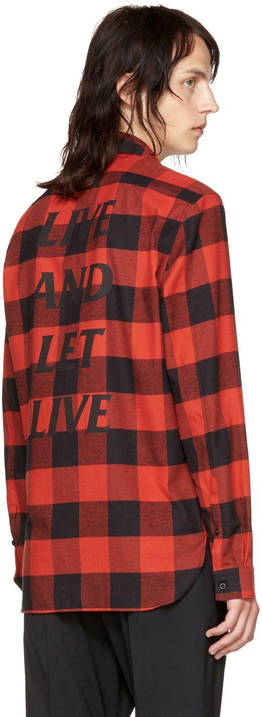 Neil Barrett - Red & Black 'Live and Let Live' McGregor Shirt