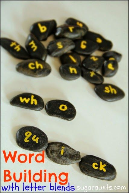 Work on sight words and decodable reading with Letter Blends.  Easy DIY letter rocks for fun reading. By Sugar Aunts.