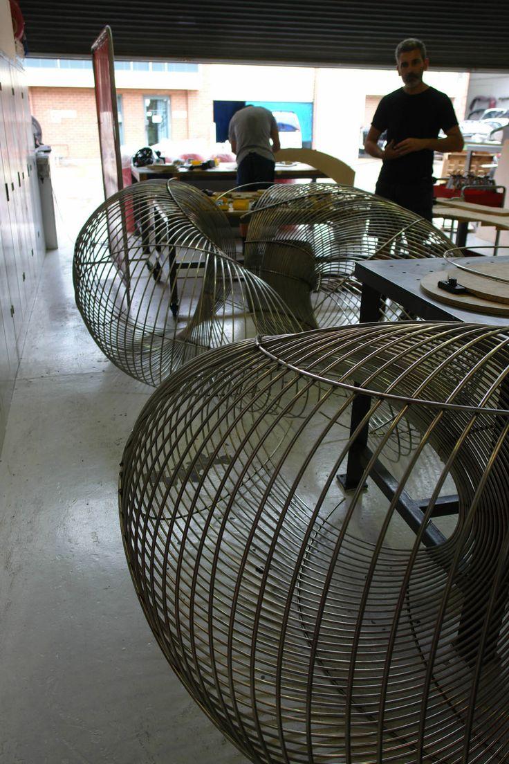 KORBAN/FLAUBERT: AERIAL, stainless steel wire sculpture in progress at KF metal workshop