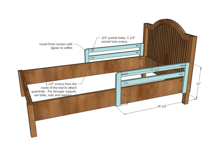 Twin Bed with side rail for transitioning from a toddler bed