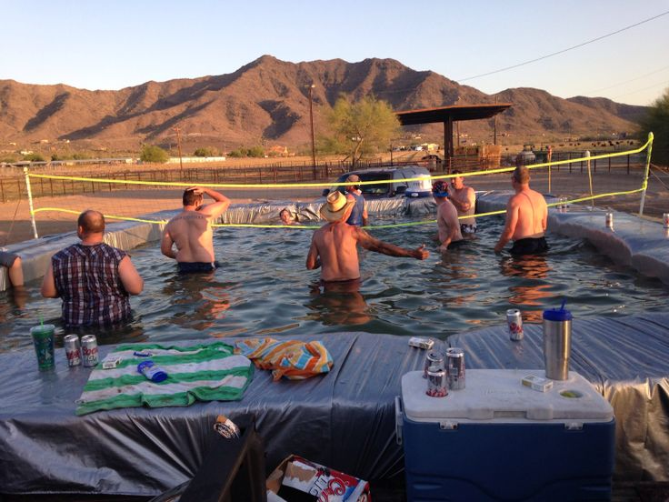 Hay bales + tarp + twine = Redneck Pool Party!