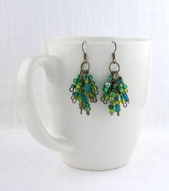 Green Upcycled Bead Cluster Earrings Beaded Dangle by CoolGiraffe, $20 Click to purchase now!