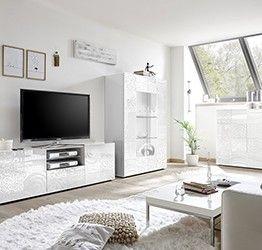 Sala completa di base porta tv, madia e vetrina in bianco laccato lucido serigrafato