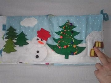 Hóemberes karácsonyfás oldal Leszedhető hóemberrel, leszedhető felhővel, fenyőfákkal madzagon, gyöngytologató játékkal kis házzal, (kérésre kis tóval amelyben csillogó tárgyak vannak elrejtve, illetve szalagos-gyöngyös hófelhővel ) 5000 Ft Levarrt fákkal , felhővel kirakható hóemberrel 4000 Ft  Egyedi tervezést kérést teljesítünk. :)
