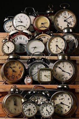 Love these vintage alarm clocks.