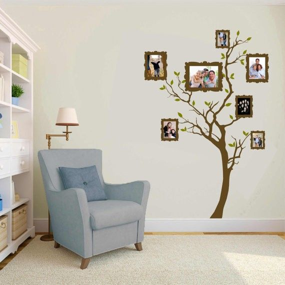 family tree wall decor with painted frames study room