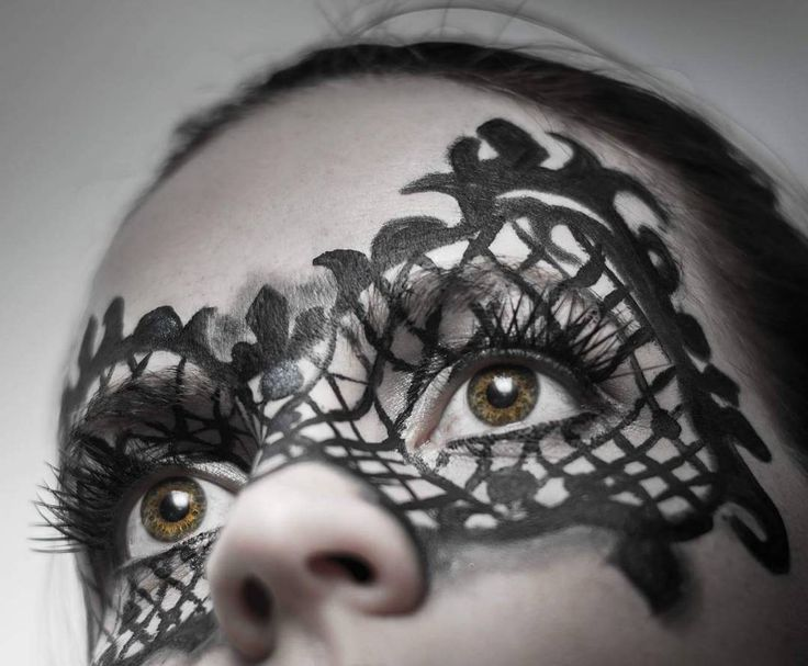 Creative makeup - lace mask.   See this Instagram photo by @thesilentgallery • 56 likes