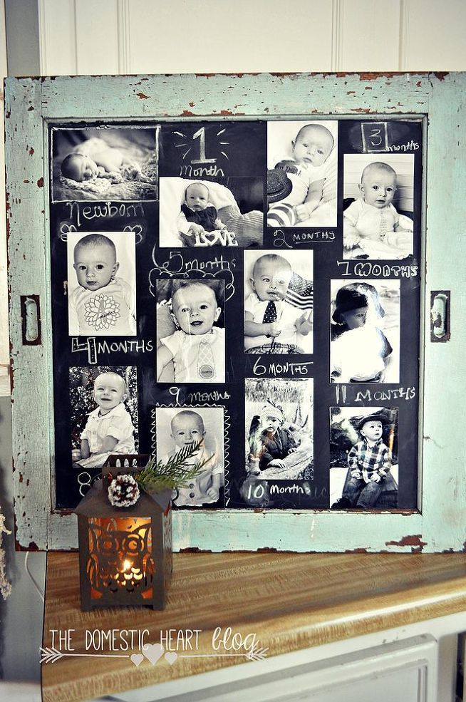 DIY #Chalkboard 1st Birthday Photo Display