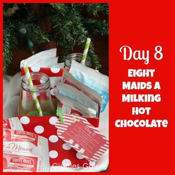 """""""On the eighth day of Christmas my true love gave to me, Eight Maids A Milking …but those poor maids were exhausted after all that milking so we delivered some hot cocoa instead. I thought the eight packets of hot cocoa needed a little extra pizzazz so I decided to add some milk bottles to today's gift. …"""