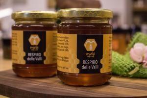 Miele Respiro delle Valli Composto a base di miele, oli essenziali (menta, eucalipto, pino mugo, anice stellato, timo) e propoli.