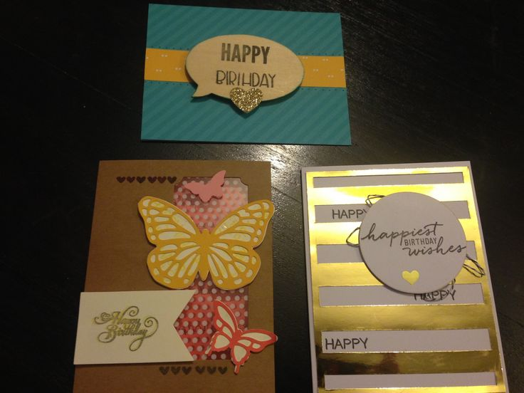 Birthday cards using stamping up tin sets