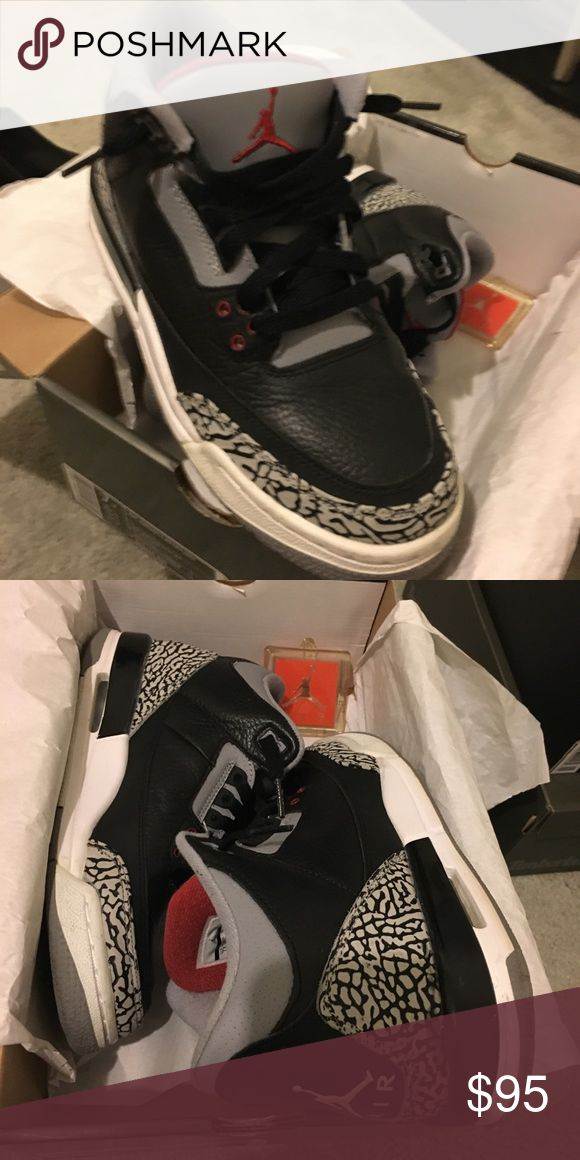 "Air Jordan 3 retro ""Black Cement"" Air Jordan 3 retro ""Black Cement"" are in very good condition. Grade school size 7 (Women's 8.0-8.5). They come with the original box and a Jumpman Air tag that can be worn on the shoe or as a keychain. Air Jordan Shoes Sneakers"