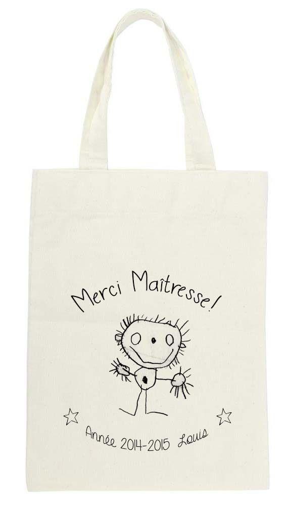 Tote bag unique, personnalisé avec le dessin de mon enfant pour dire merci à sa maîtresse! : Sacs enfants par le-poisson-rose