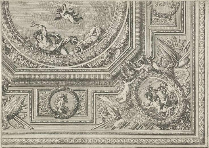 Jean Lepautre   Ceiling with a Circular Centerpiece, Jean Lepautre, in or after 1661 - before 1666   In het midden een putto als Jupiter; de rand is gedecoreerd met keizerbustes in medaillons en in de hoek een ovaal medaillon met een gevechtsscène. Blad 6 uit serie van 6 bladen met ontwerpen voor plafonds, sommige met varianten voor de randen. Uit tweede editie.