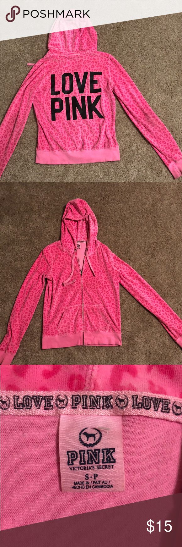 Victoria's secret pink zip up jacket Victoria's Secret pink zip up jacket that is hot pink with cheetah print detailing all over.The jacket is Size small very soft material with an adjustable hoodie. PINK Victoria's Secret Tops Sweatshirts & Hoodies