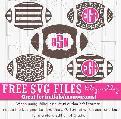 Free SVG cut file set of five football designs great for monograms/initials!