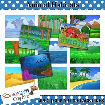 Animal and Plant Habitat graphics. The set contains 12 images, each in color as well as black and white. JPEG format and 300dpi. Great for scrapbooking, educational resources, photography, cards, printables - whatever you like!