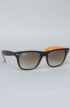The 54 mm Original Wayfarer Sunglasses in Black & Orange Transparent by Ray Ban
