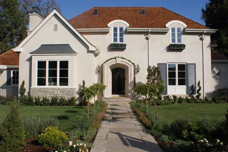 Stucco Brown Roof Wooden Shutters Color Scheme Home Exterior Pinterest Shutter Colors