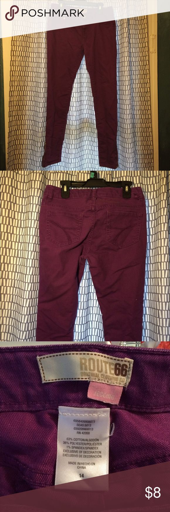 Purple Size 14 Girls skinny jeans Plum purple skinny jeans, girls size 14. Good condition! Route 66 Bottoms
