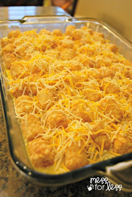 cheesy tator tot breakfast casserole.. I would use ground sausage instead of links