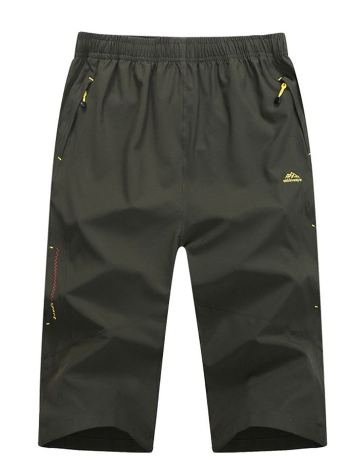 Yifun Outdoor Mens Workout Long Shorts Relaxed Fit Stretch Quick Dry Shorts(Army Green,Small). Two zippered front pockets & one back zipperd pocket keep your value things safe. Adjustable elastic waistband with drawstring. These moisture wicking & durable shorts keep you dry and comfortable on hot day. Perfect choice for dynamic outdoor activities like hiking, cycling, fishing, camping.